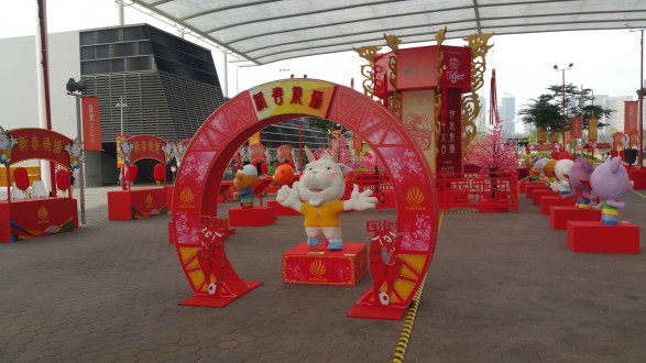 Chinese New Year decor at Sports Hub