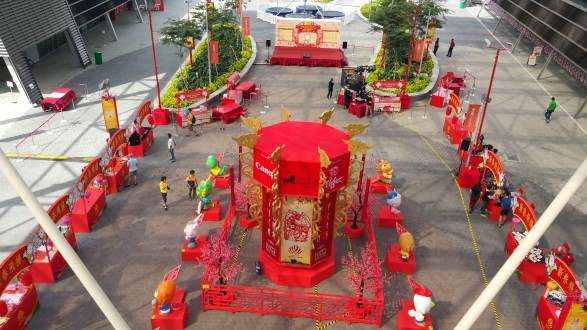 Aerial view of Chinese New Year decor