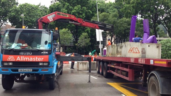 Offloading concrete blocks for Purple Parade