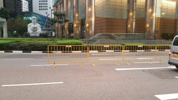 Metal barricade lining the road #carfreesunday
